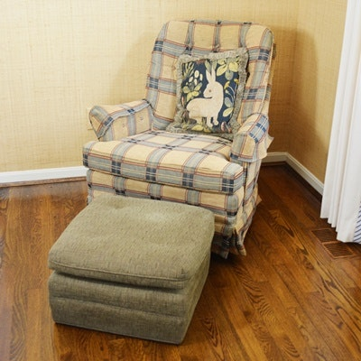 Woodwork Original Swivel Armchair and Ottoman