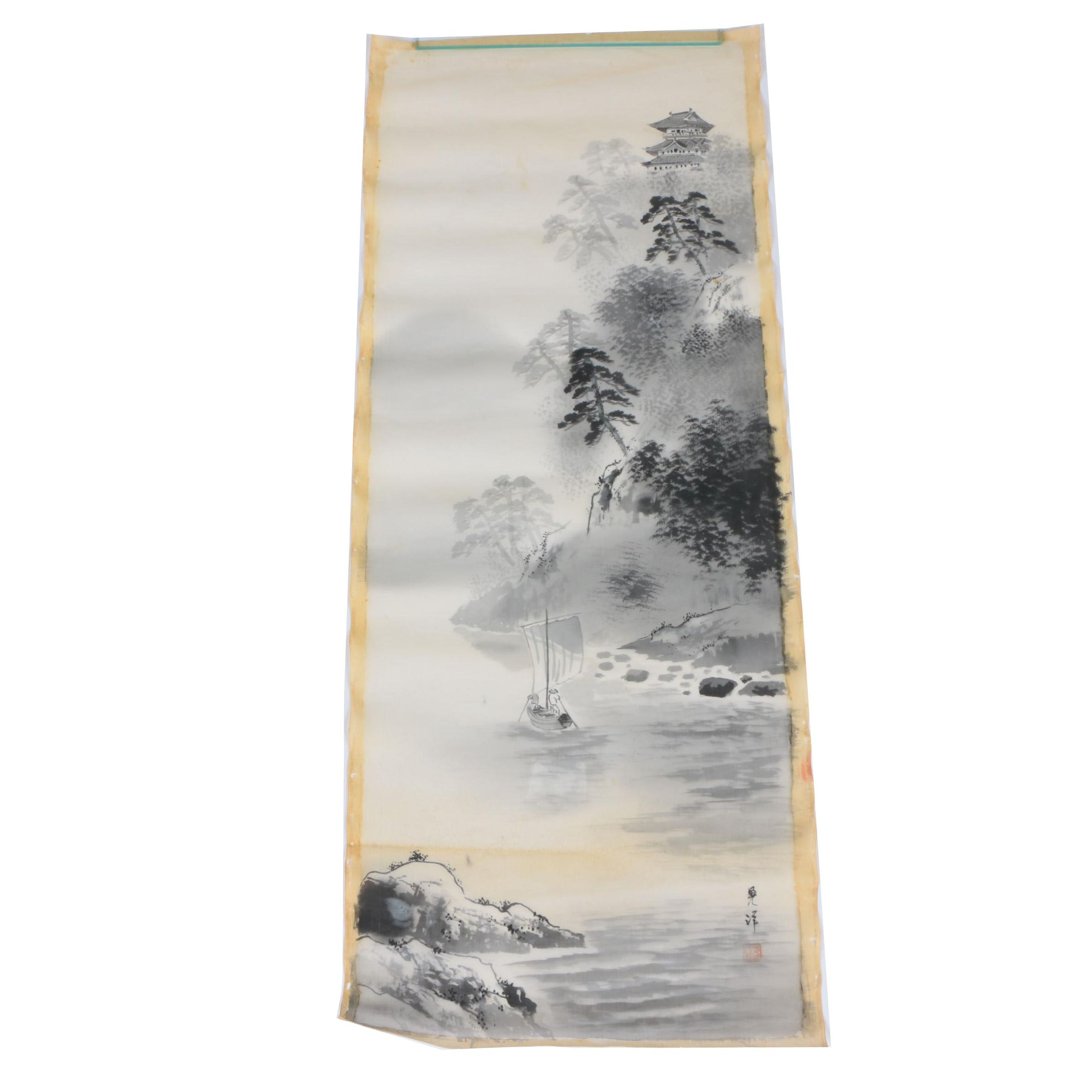 East Asian Style Ink and Gouache Painting on Silk of Landscape Scene