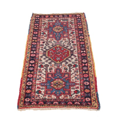 Hand-Knotted Persian Karaja Wool Accent Rug
