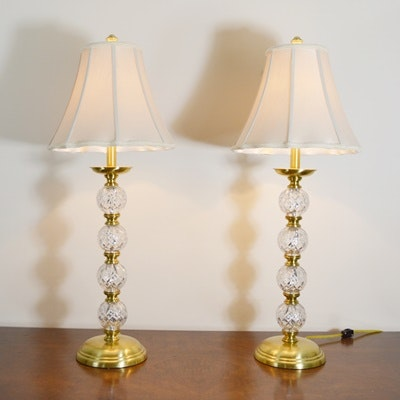 Waterford Crystal and Brass Table Lamps