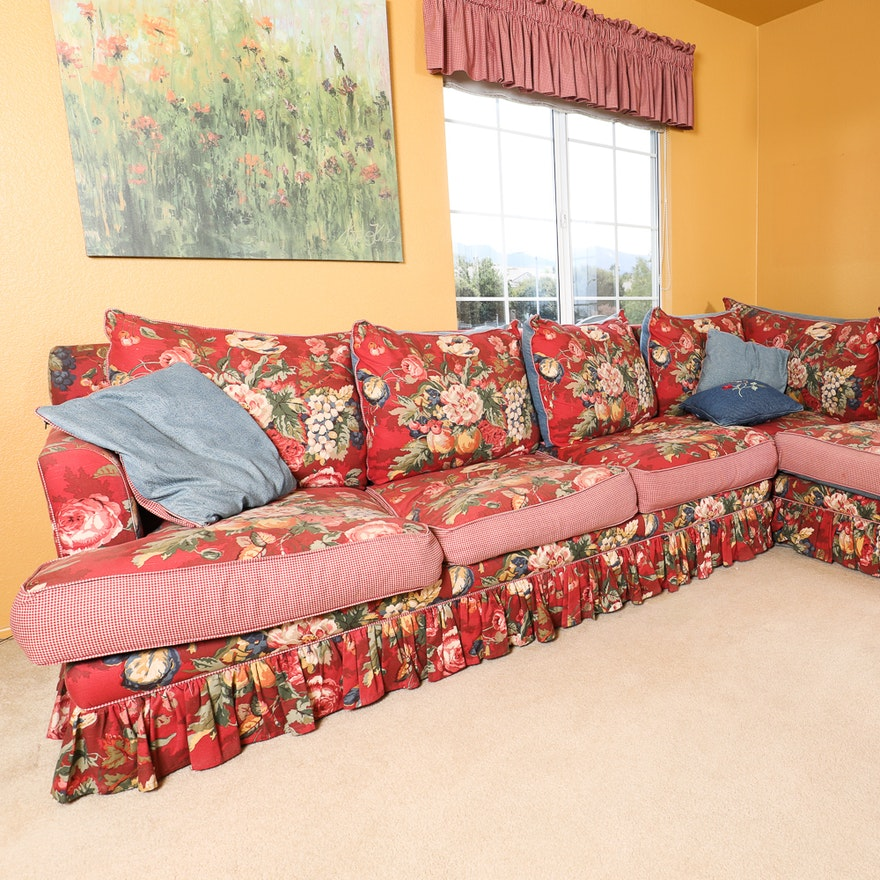 Reversible Denim and Floral Print Sectional with Ethan Allen Red ...