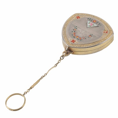Vintage Gold and Silver Tone Compact Keychain