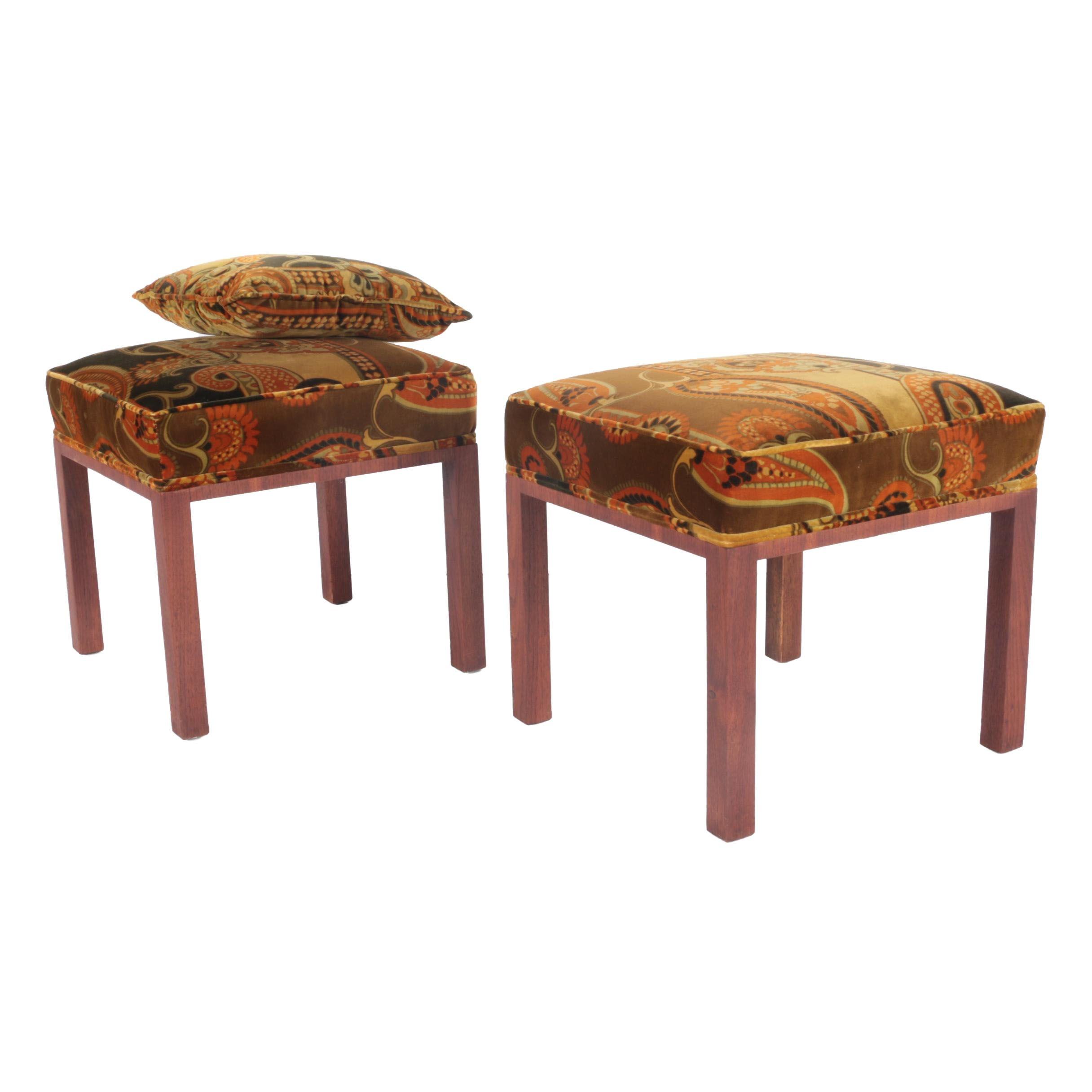 Danish Mid-Century Upholstered Stool Pair by RYA