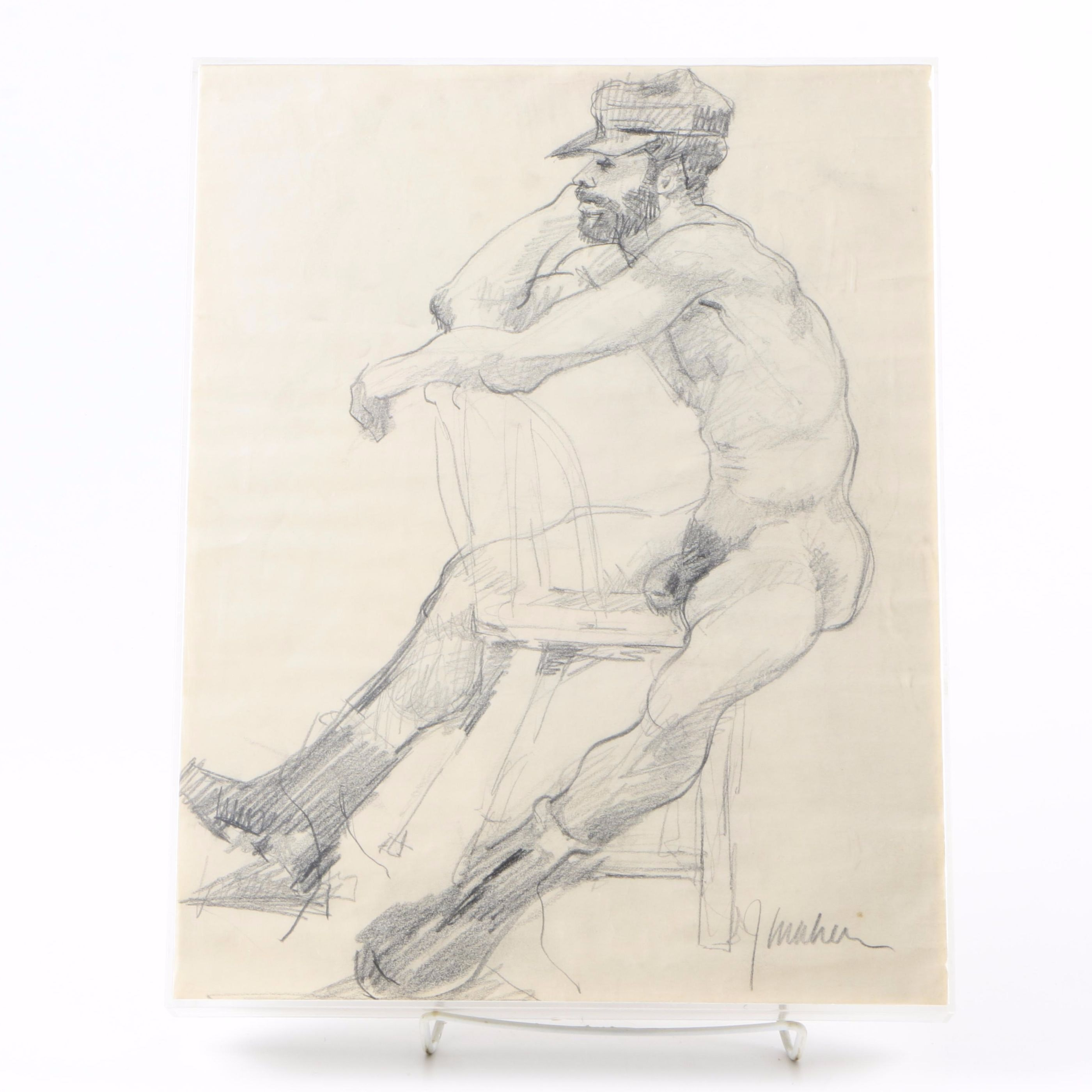 James Maher Figure Drawing of a Seated Nude Man