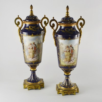Antique French Sèvres Style Ormolu-Mounted Lidded Urns/Vases