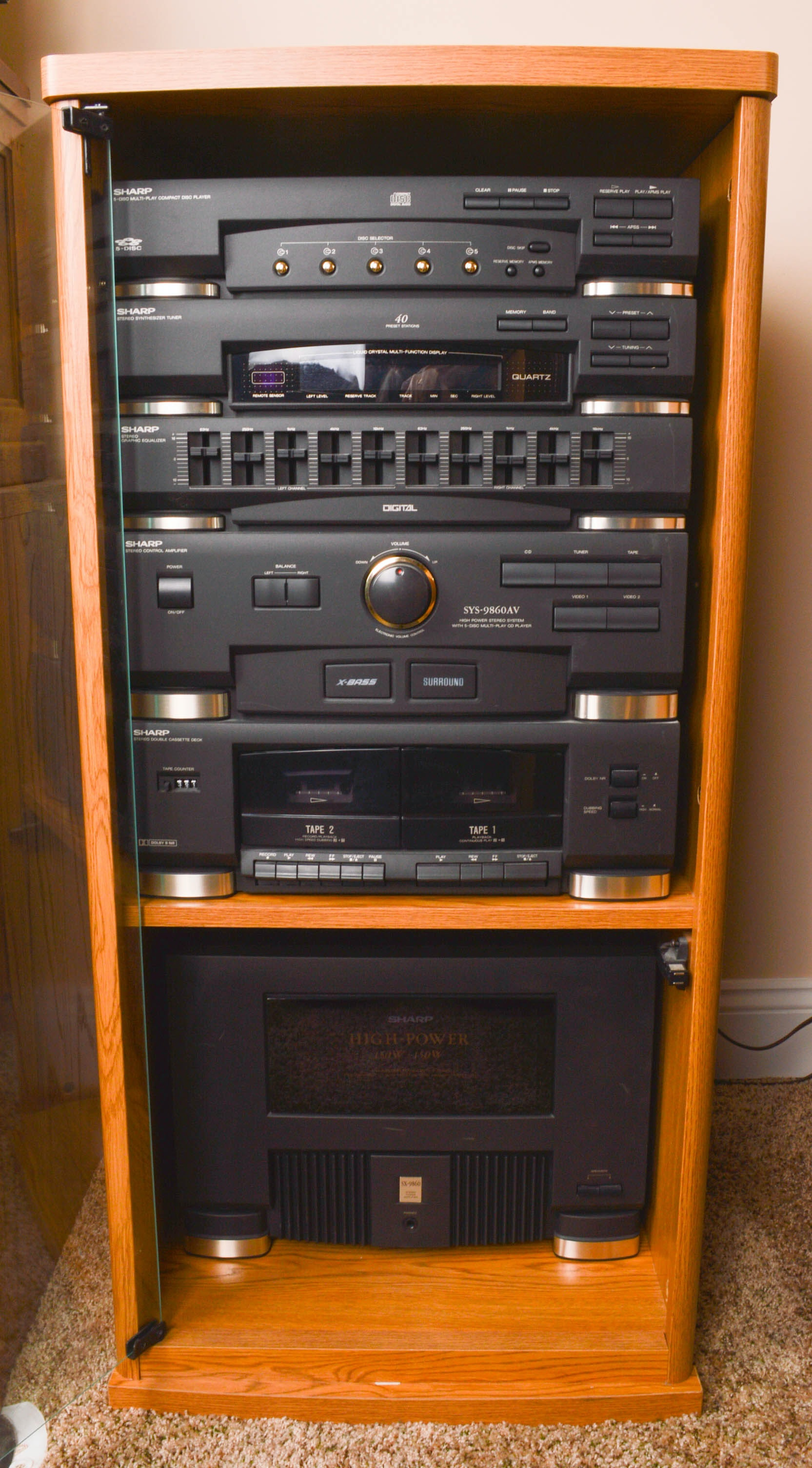 Sharp Stereo Components Cabinet And Floor Speakers Ebth