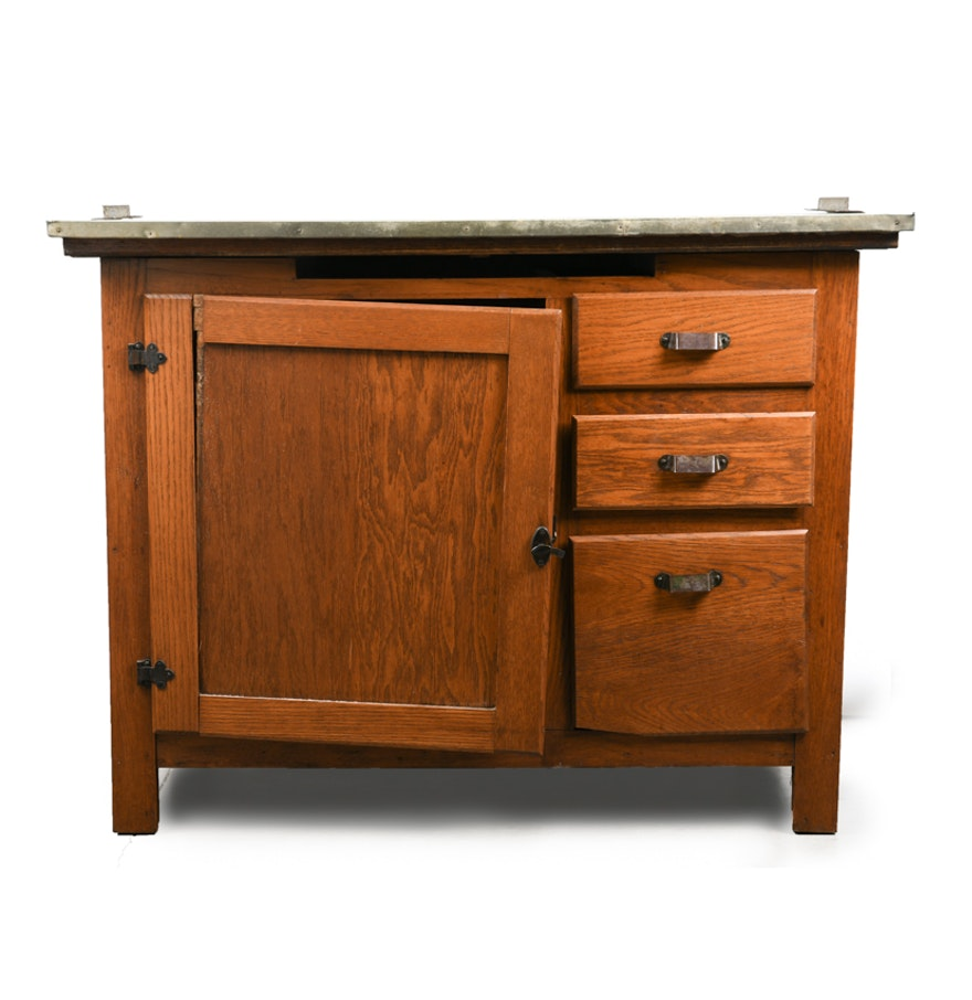 "Campbell Kitchen: Antique Oak ""Boone Kitchen Cabinet"" By Campbell-Smith"