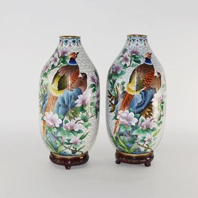 Vintage Cloisonné Pheasant Vases