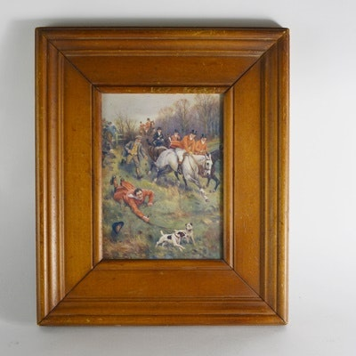 Offset Lithograph of Fox Hunting Print After J.S. Sanderson Wells