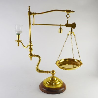Vintage Brass Scale With Pan, Weight and Candleholder