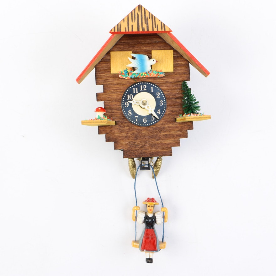 Wooden Analog Cuckoo Wall Clock Ebth