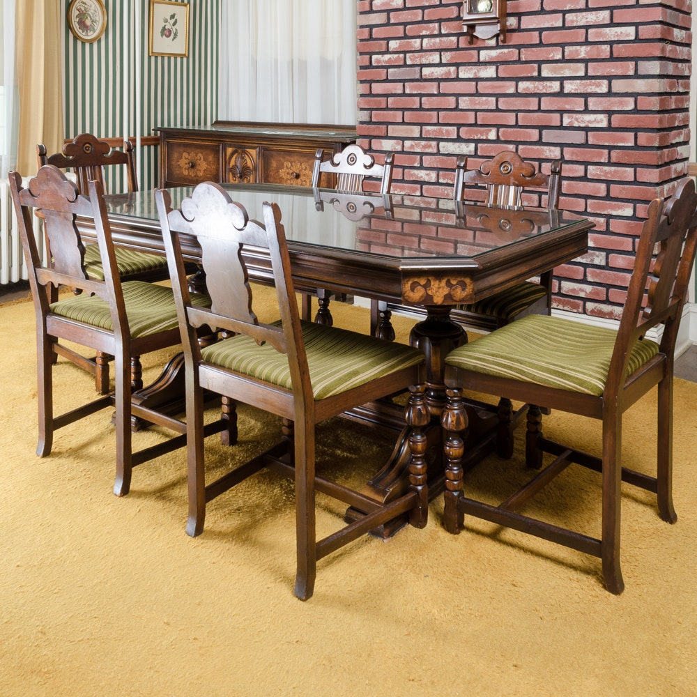 Vintage Dining Table With Chairs By Berkey U0026 Gay Furniture ...