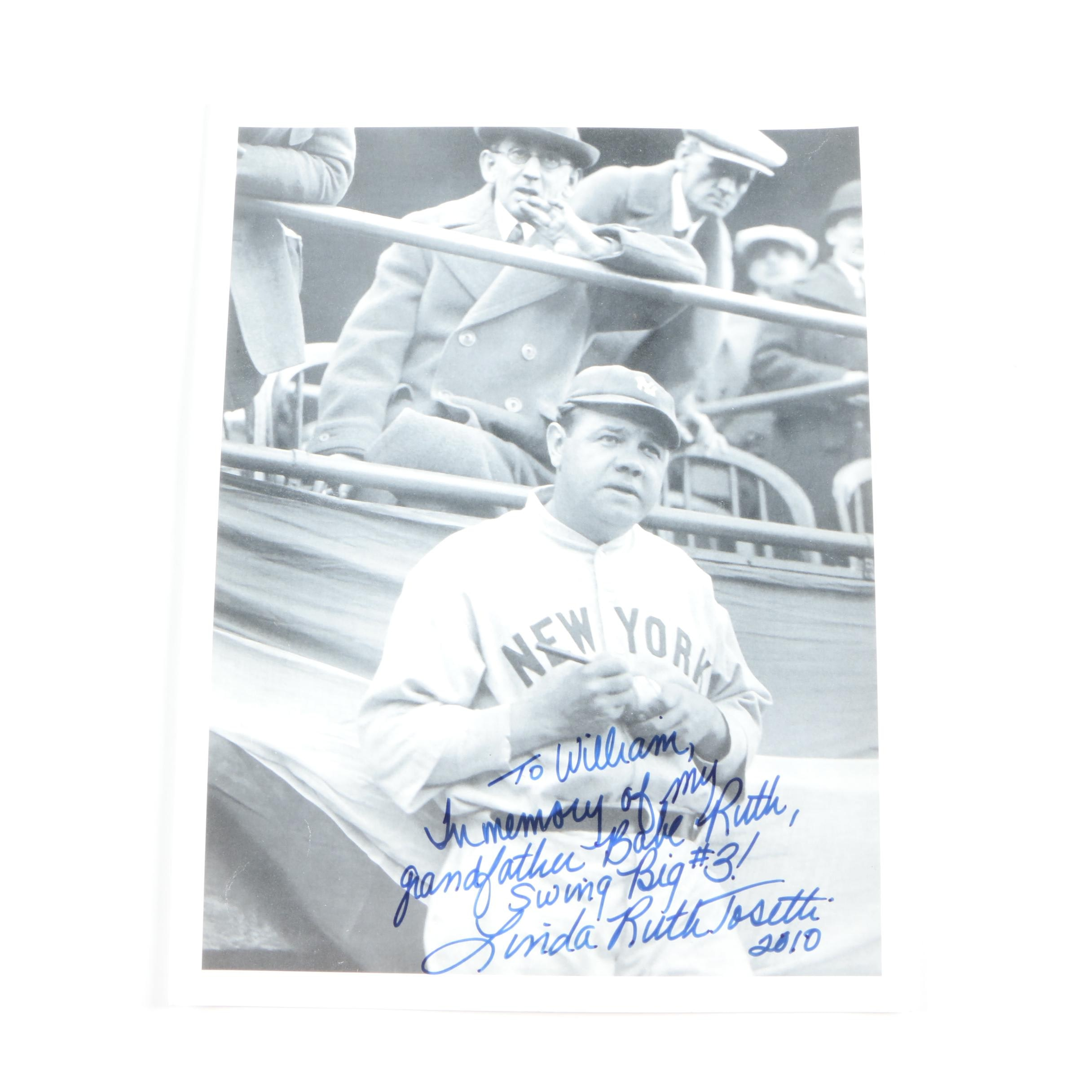 Lithograph After a Photo of Babe Ruth Signed By Ruth's Granddaughter
