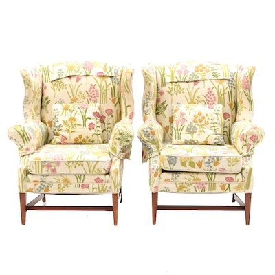 Pair of Embroidered Floral Armchairs