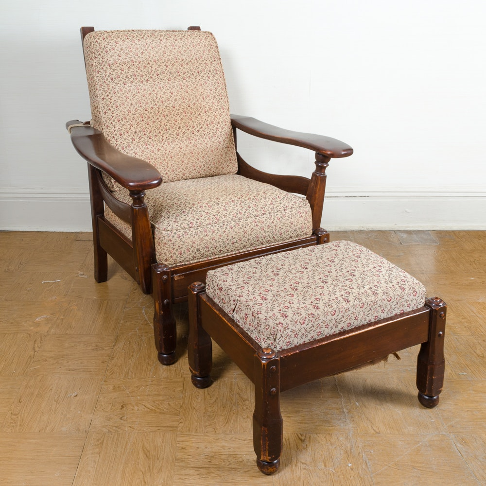 Vintage Reclining Lounge Chair and Ottoman