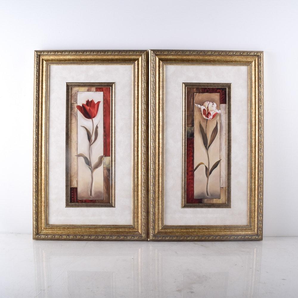 Framed Offset Lithograph Tulip Prints