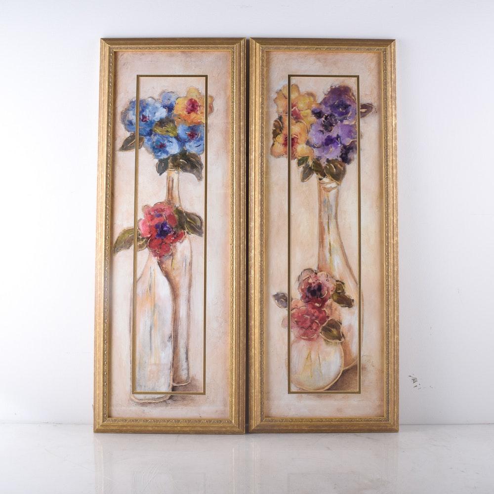 Framed Offset Lithograph Flower Prints