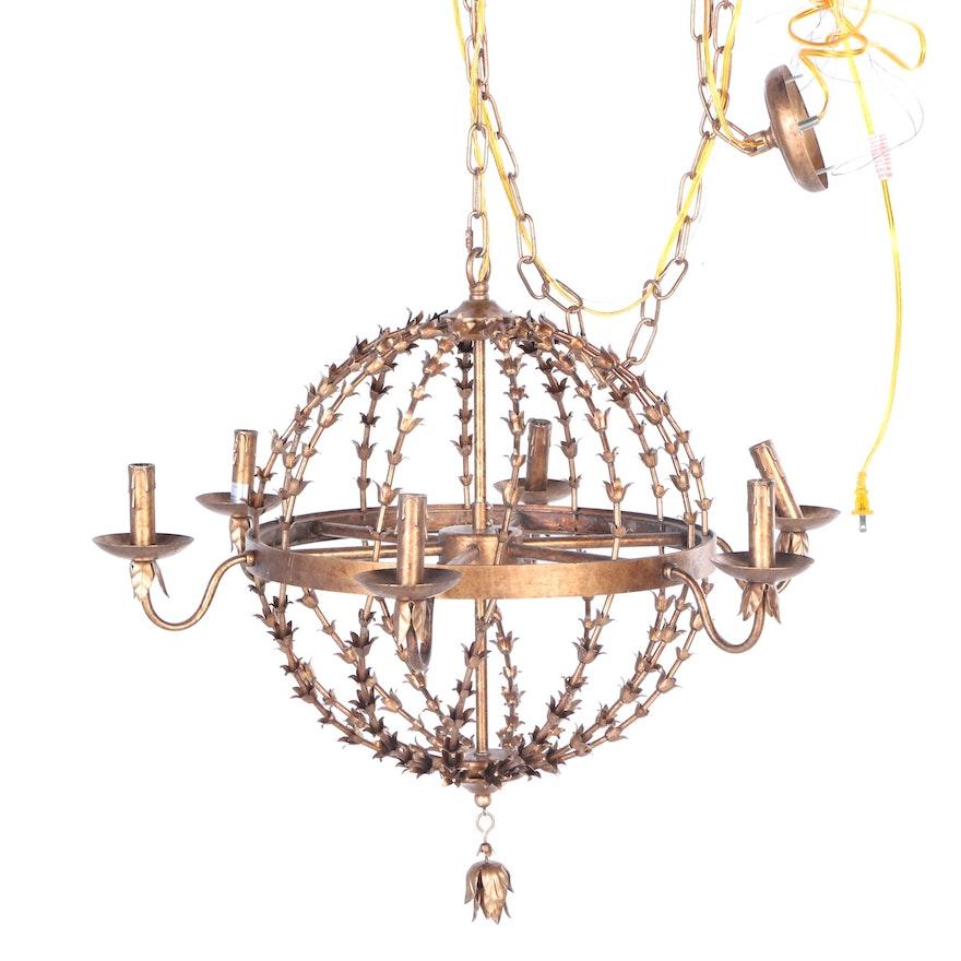 Round metal trumpet vine chandelier ebth round metal trumpet vine chandelier aloadofball Image collections