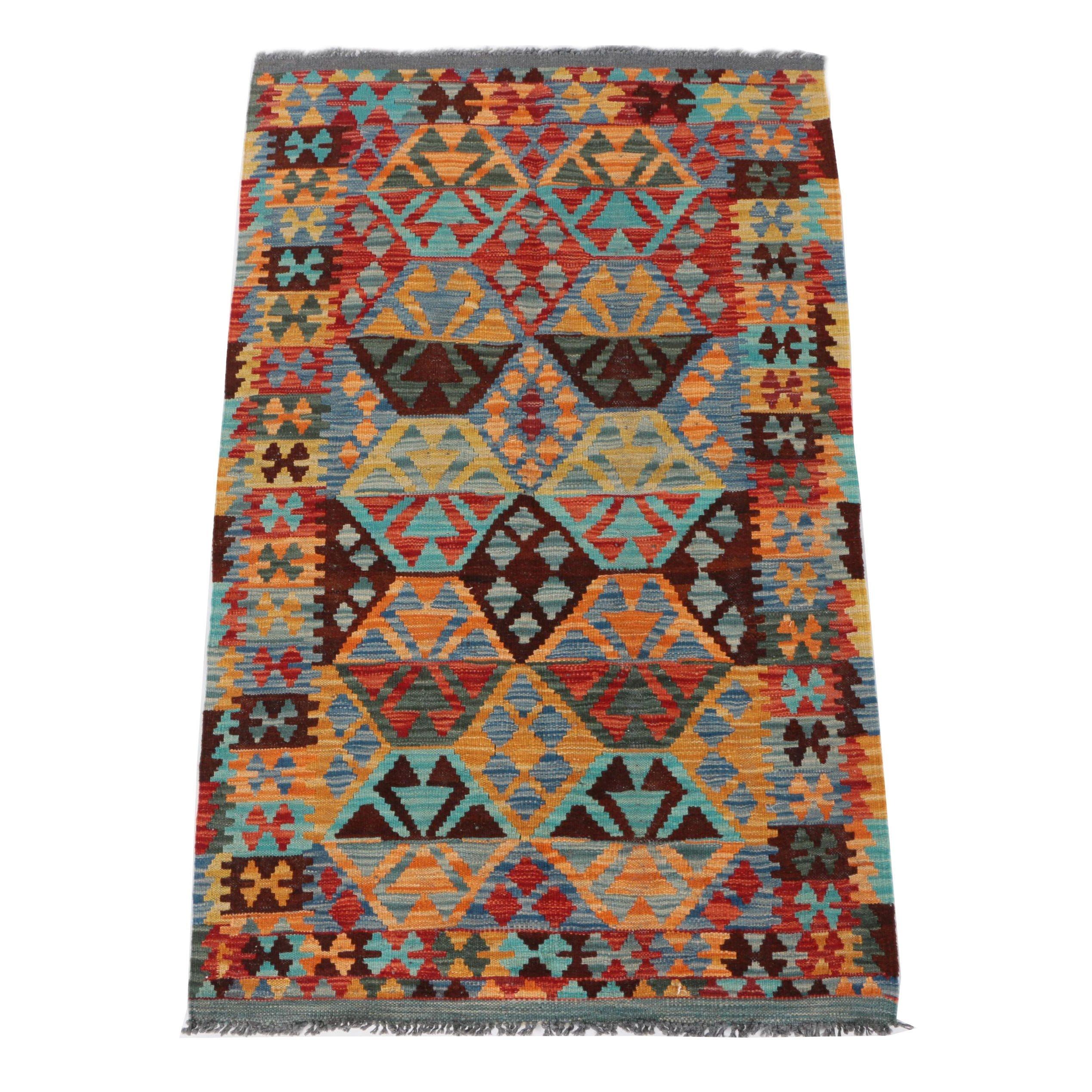 Hand Woven Turkish Kilim Wool Area Rug