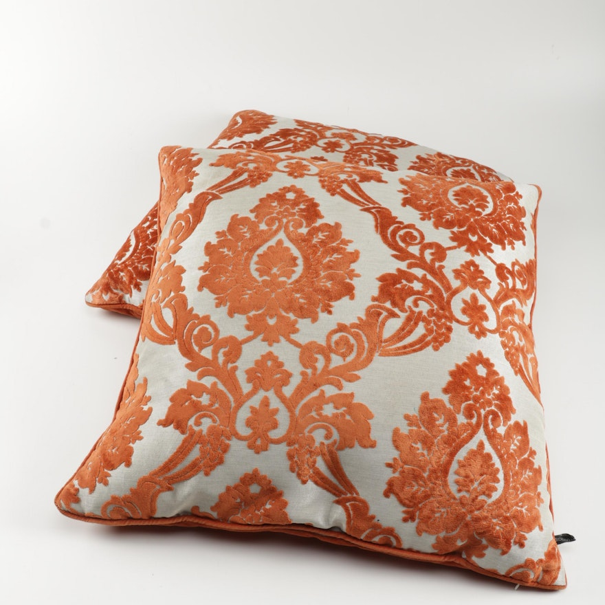 Pair Of Rodeo Home Cut Velvet Damask Accent Pillows EBTH Impressive Rodeo Home Decorative Pillows