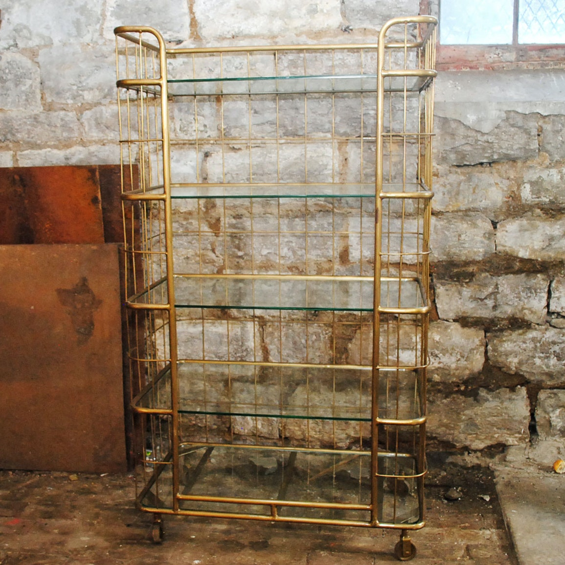 Contemporary Gold Toned Etagere With Glass Shelves