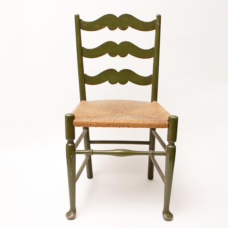 Vintage Green Painted Rattan Wood Chair Ebth