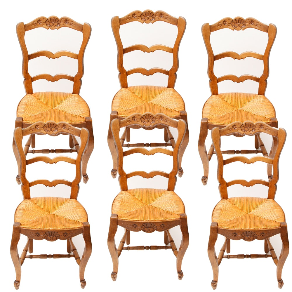 Vintage Carved Wooden Dining Chairs with Reeded Seats