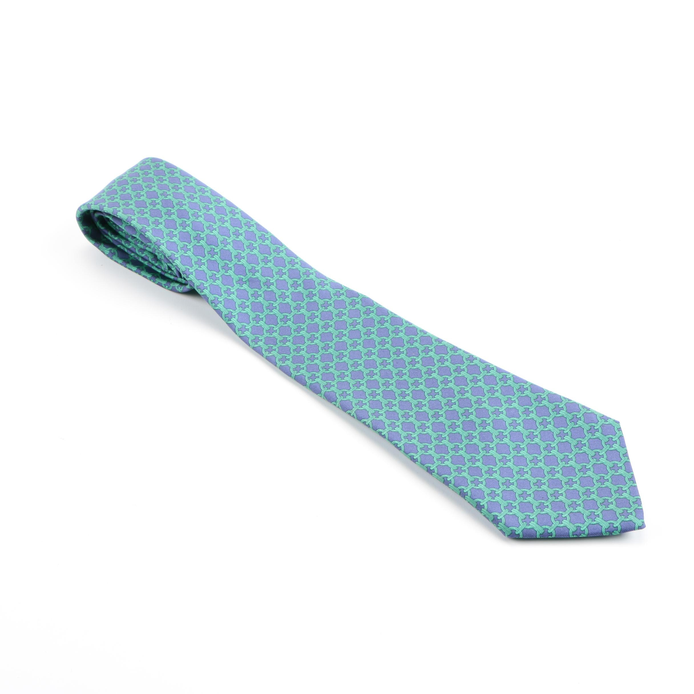 Hermès Green and Blue Bridal Chain Link Silk Tie