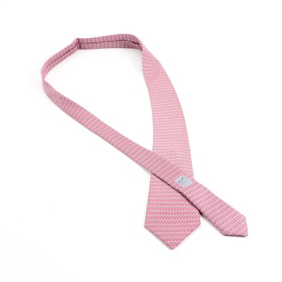 Hermès Grey and Pink Horse Bit Link Silk Tie
