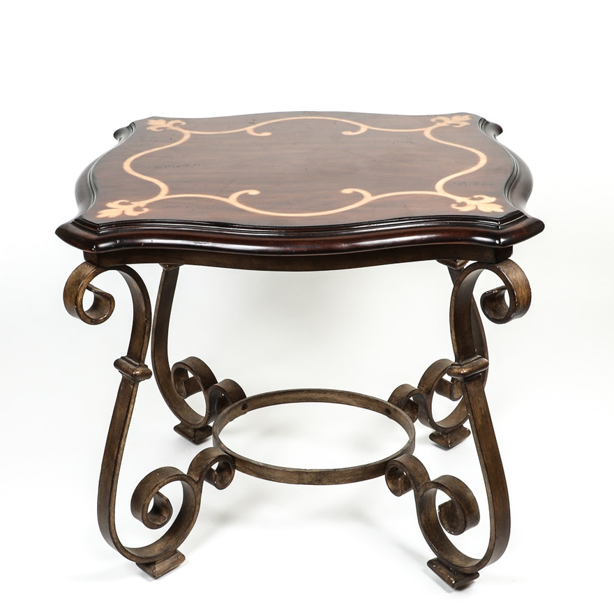 Natural Wood End Table With Scrolled Metal Supports And Inlaid Detail
