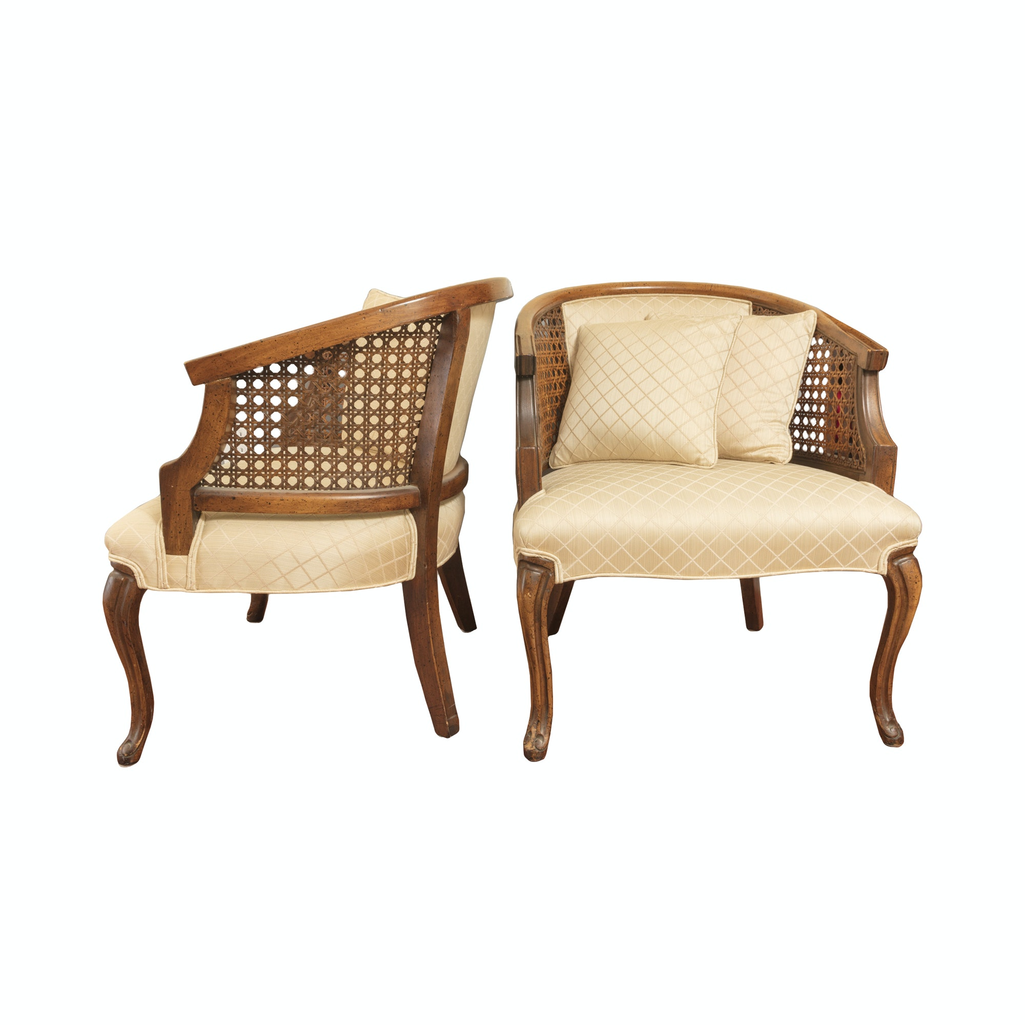Pair of Caned Barrel Back Armchairs