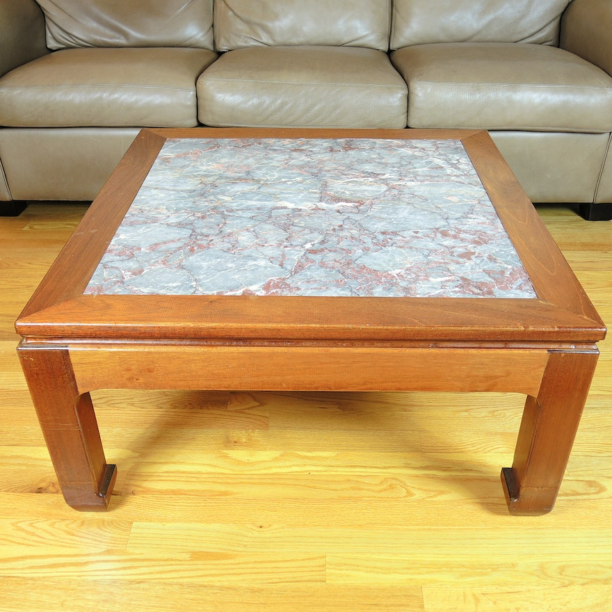 Asian Inspired Marble Inlaid Coffee Table Ebth