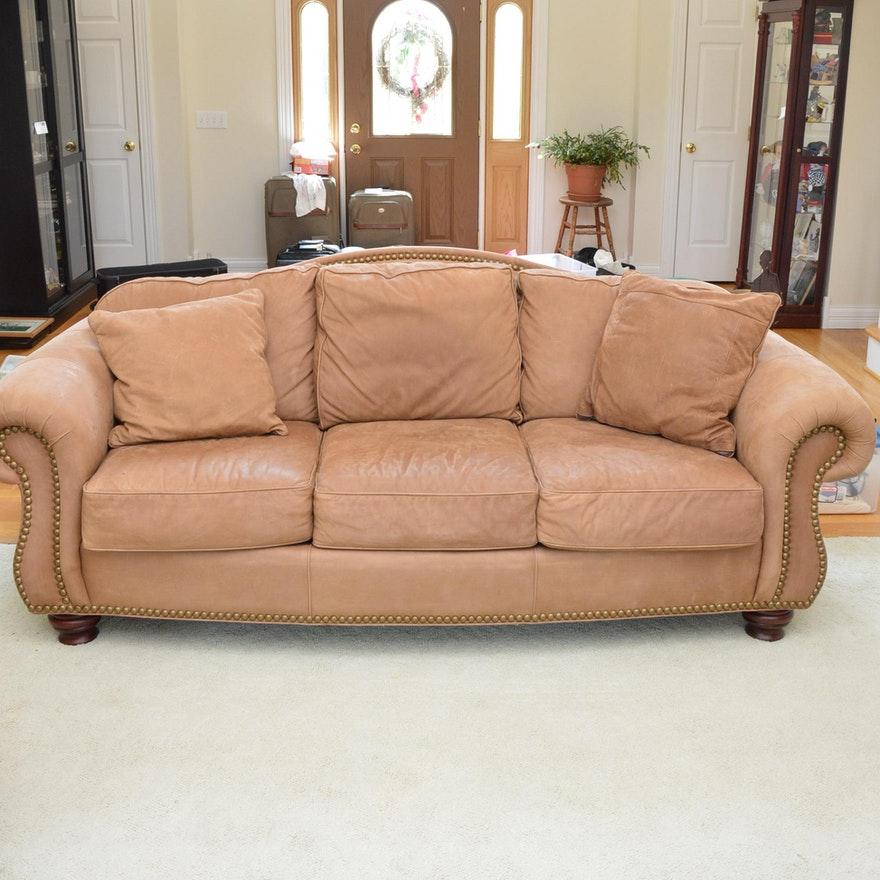 Surprising Nubuck Style Leather Sofa By Thomasville Ocoug Best Dining Table And Chair Ideas Images Ocougorg