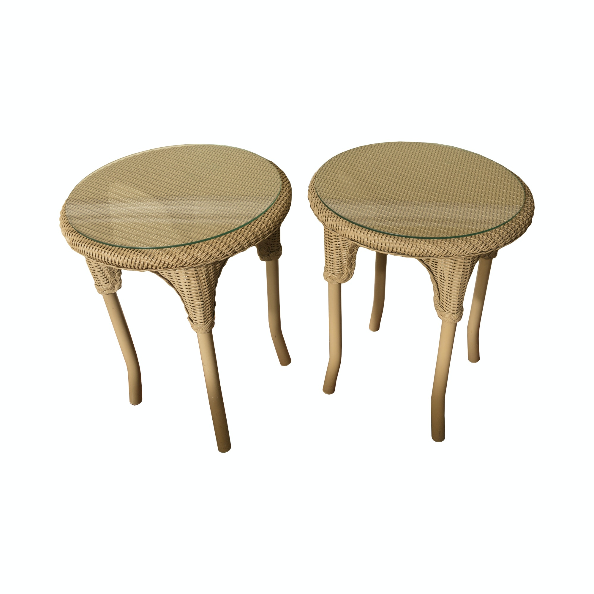 Pair of Wicker End Tables with Glass Tops