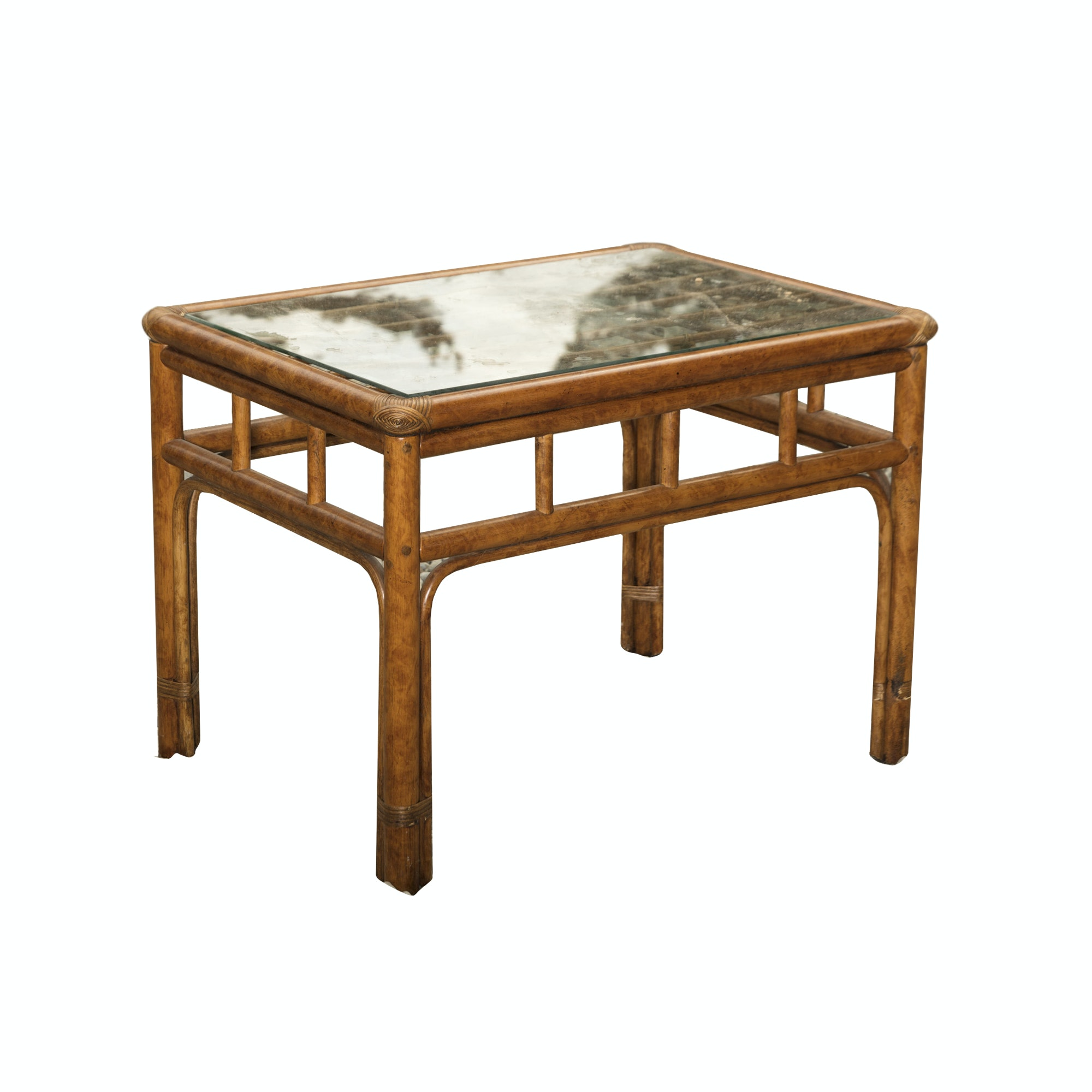 Glass Top Rattan Side Table