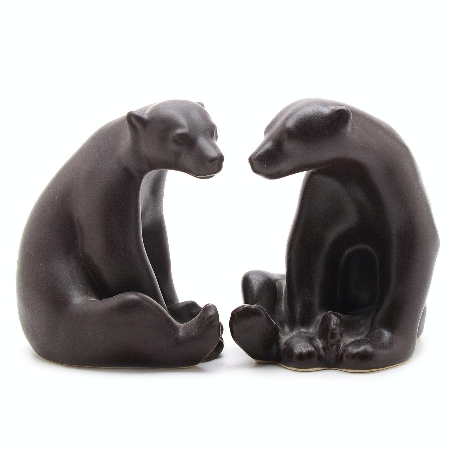 """Pair of Rookwood Art Pottery """"Abel Bear"""" Beatnik Figurines"""