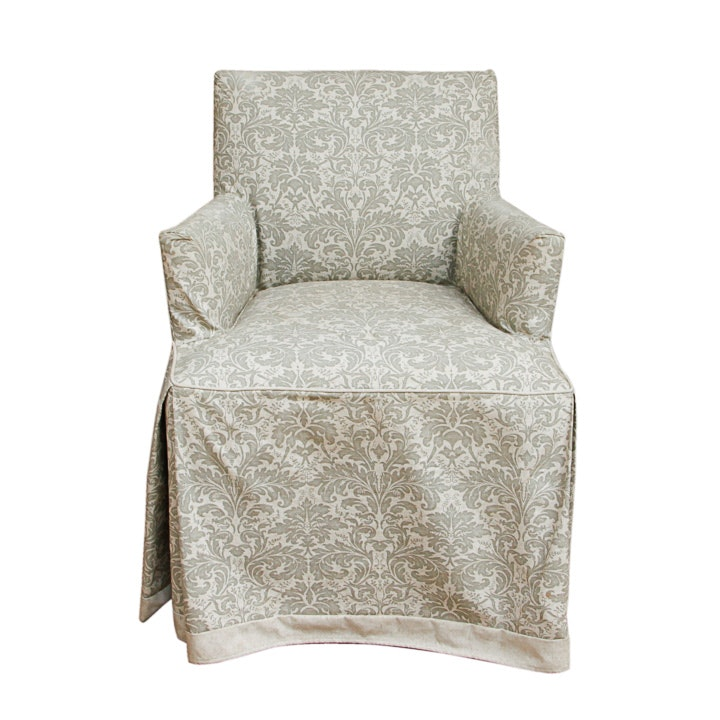 French Provincial Style Slip Covered Armchair