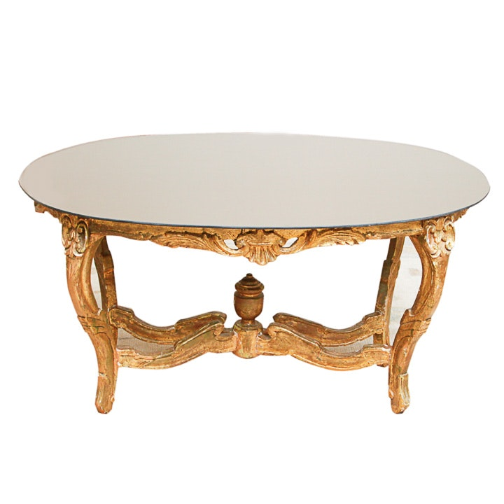 Louis XV Style Mirror Top Coffee Table