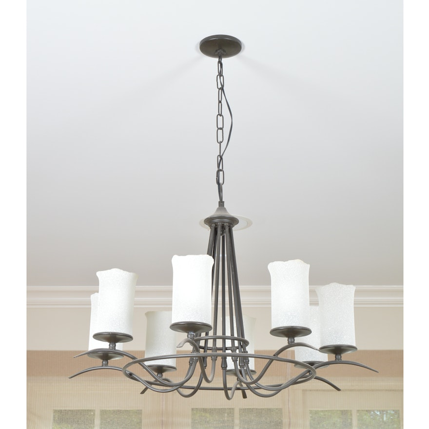 Black Metal Chandelier With Faux Pillar Candles