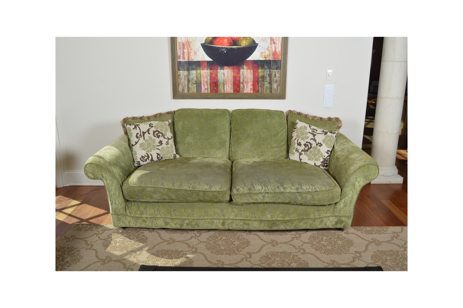 Upholstered Roll Arm Sofa