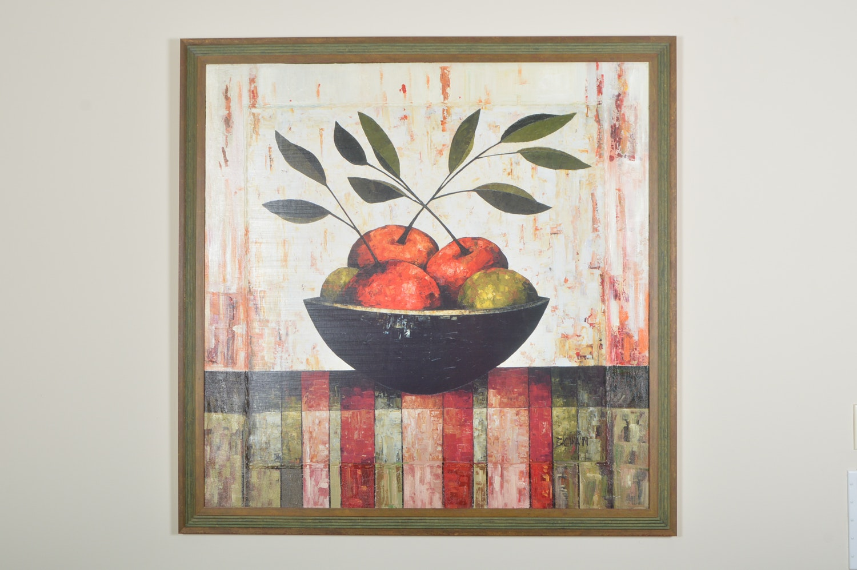 "Constance Bachmann Embellished Print ""Fruit Bowl on Silk"""