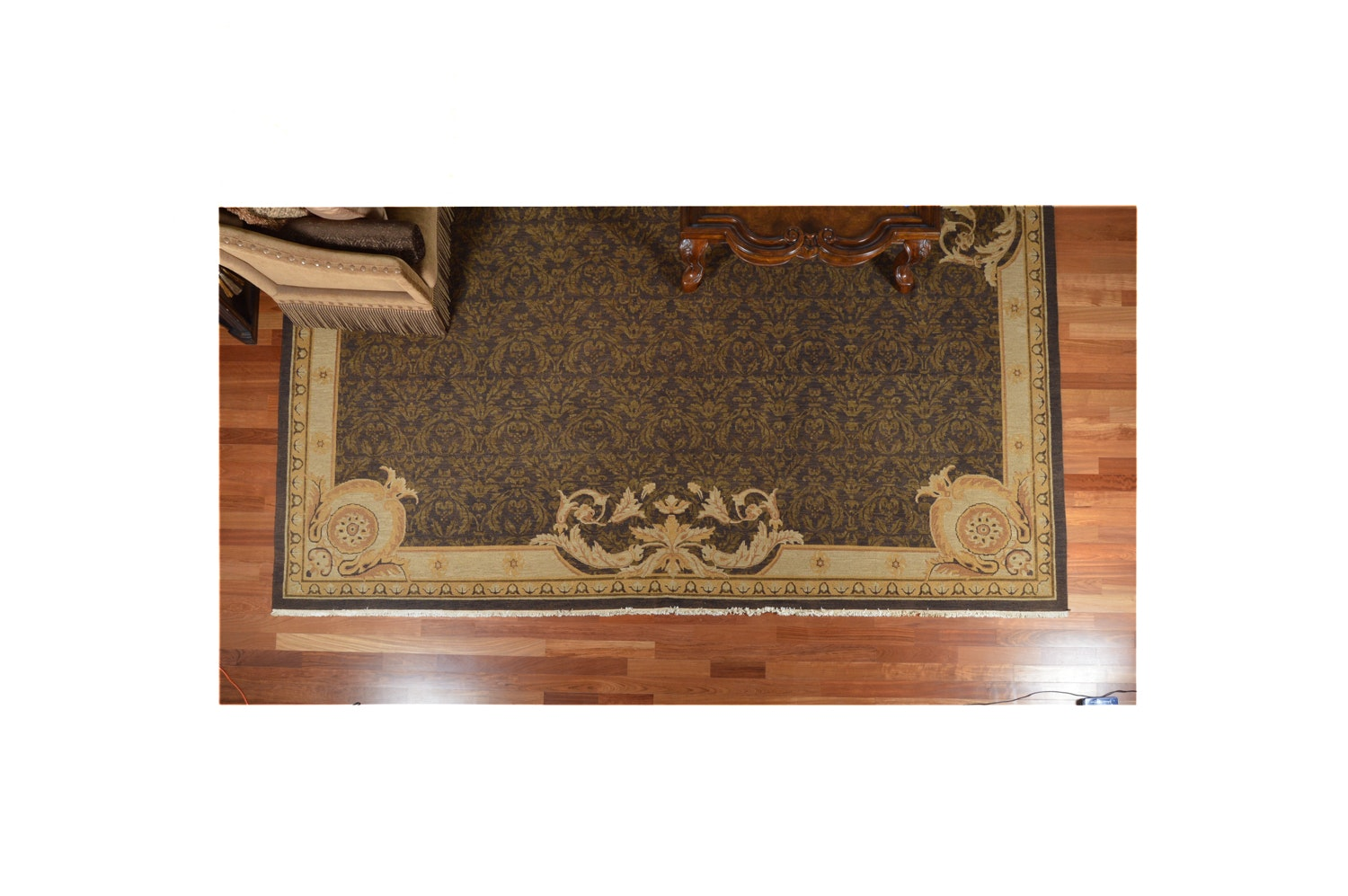 Large Hand-Knotted Indian Neoclassical-Style Area Rug