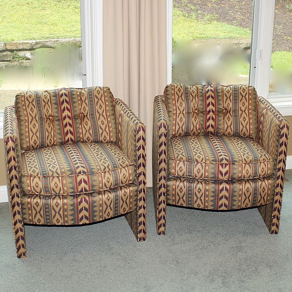 Two Upholstered Contemporary Arm Chairs