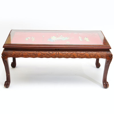 Chinese Inspired Carved Wood Coffee Table With Inlaid Top