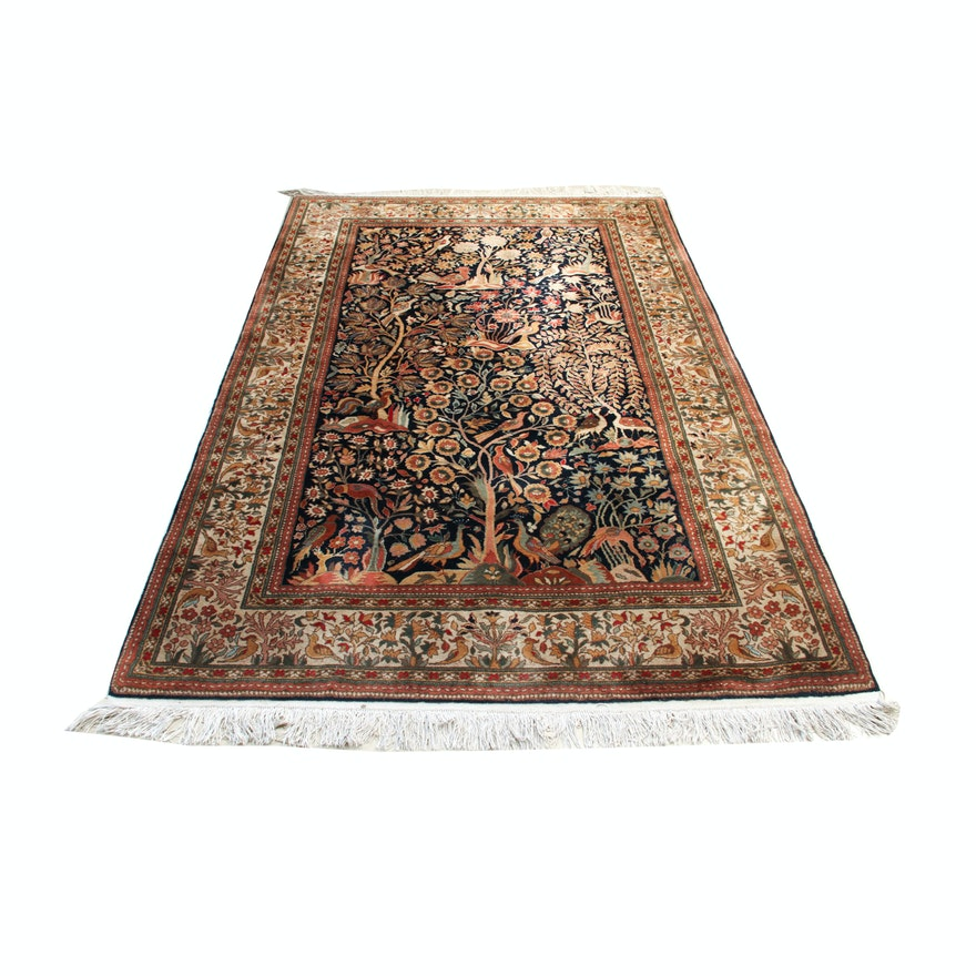 """Hand Knotted Persian Tabriz Wool Area Rug Ebth: Persian Hand-Knotted Tabriz """"Tree Of Life"""" Area Rug"""
