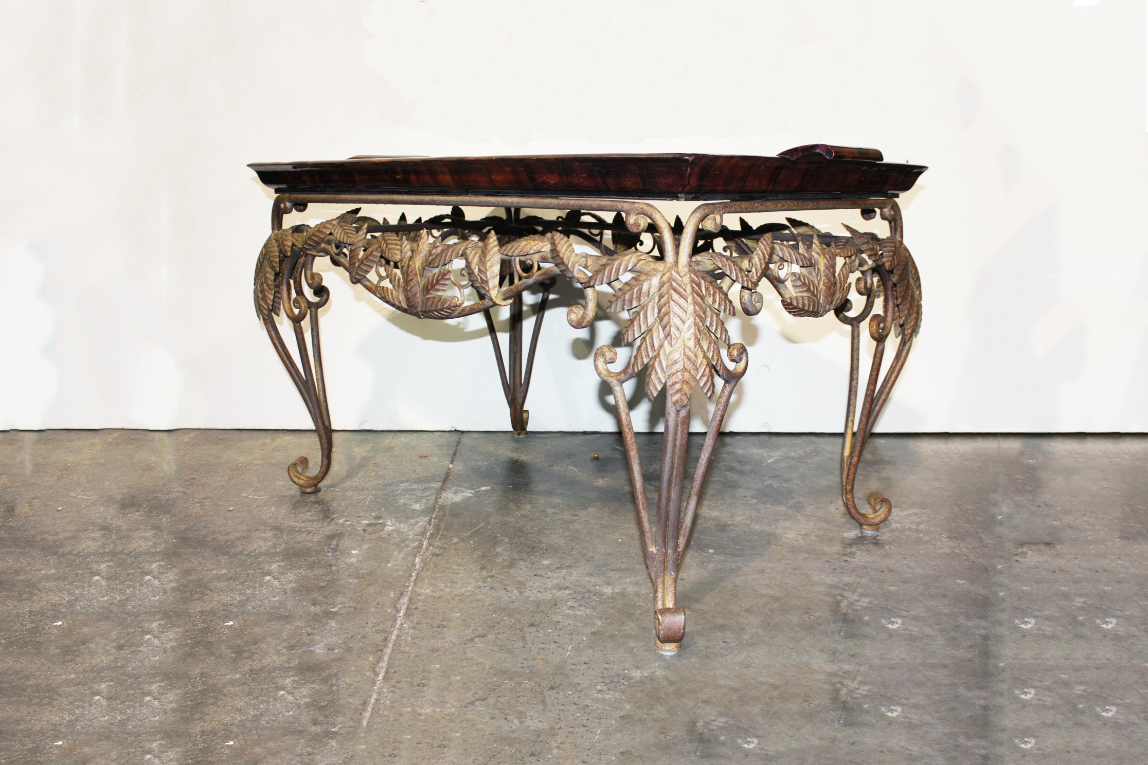 Ornate Metal Tray Coffee Table With Leather Top