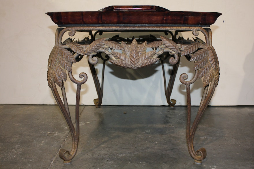 Ornate Metal Tray Coffee Table With Leather Top Ebth