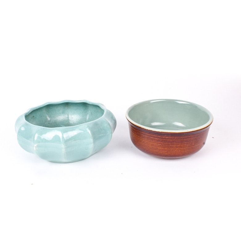 Vintage Haeger and Red Wing American Pottery Bowls