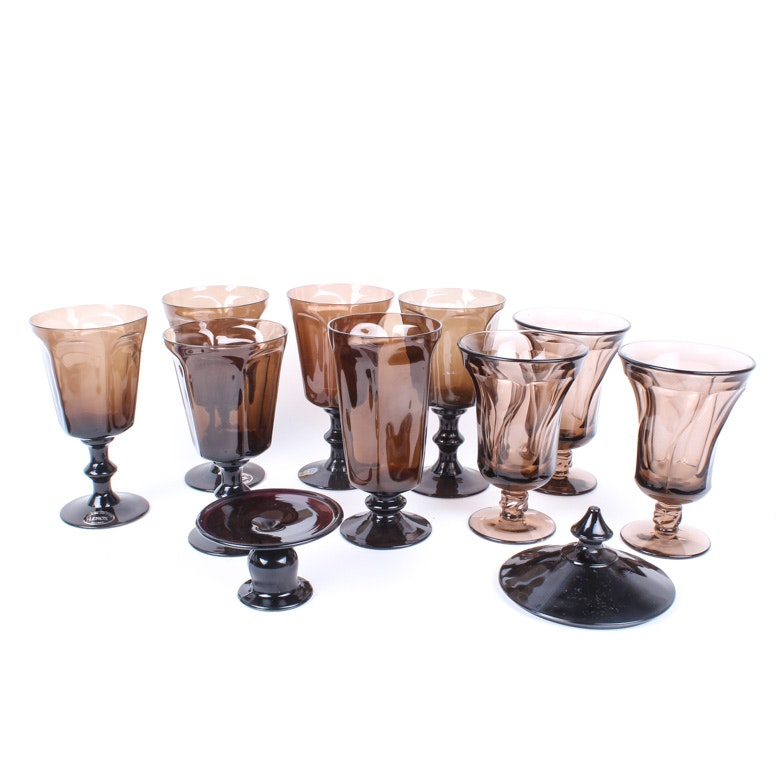 "Lenox ""Antique"" Brown Crystal Stemware with Similar Tableware"