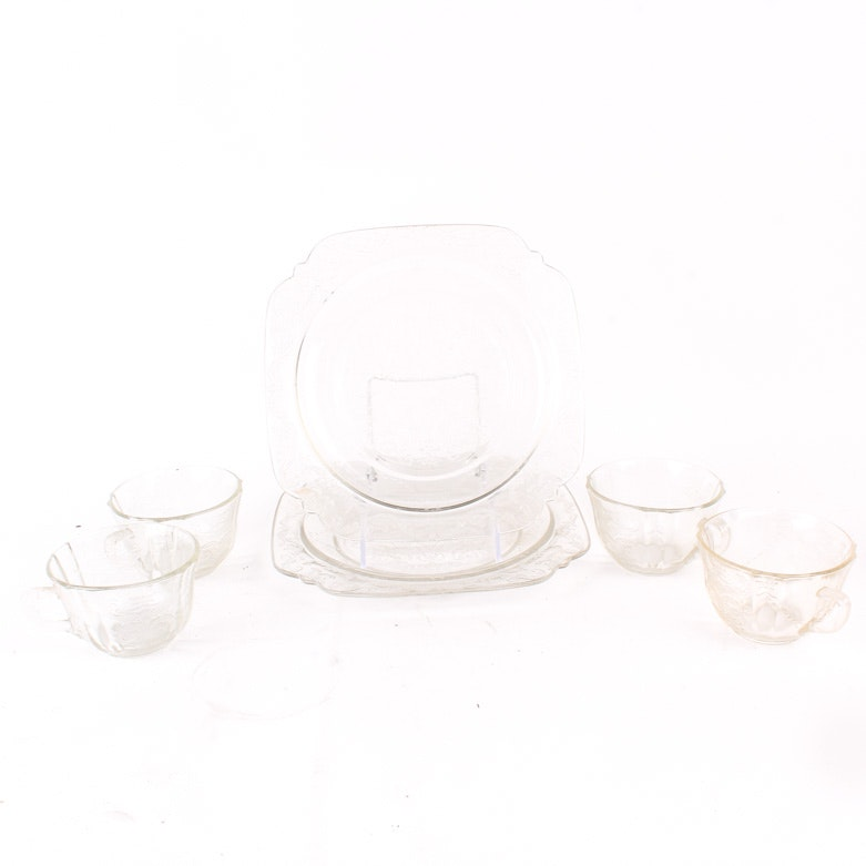 "Assortment of Clear ""Madrid"" Depression Glass by Federal Glass"